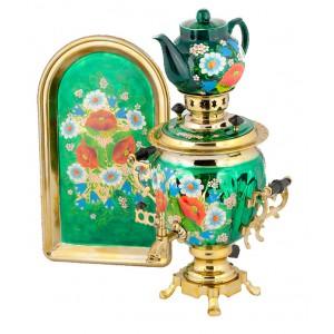 Самоварный набор Цветы 2 - самовар, чайник, поднос